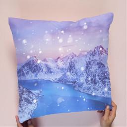 pillow mountains snow winter inverno ircdesignapillow freetoedit