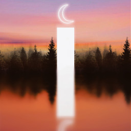 madewithpicsart heypicsart dreamscape forest pink purple sky water reflection mirror dark black evening light portal moon icyx freetoedit