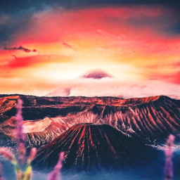 picsart freetoedit remixit sunset sunrise sun clouds glow sky stars night moody dark light color background view png silhouette travel rocketship flowers volcano hills fog