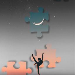 puzzlepiece puzzle dance sunset sky night moon pieces gymnast ballet challenge srcpuzzlepieces puzzlepieces freetoedit