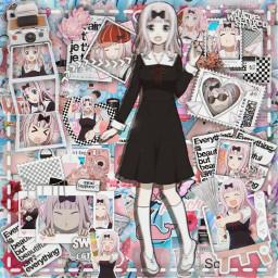 anime manga otaku japan weeb love is war loveiswar chikafujiwara chika fujiwara risa pink blue aesthetic freetoedit