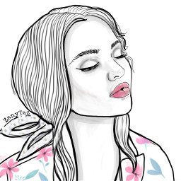 freetoedit faceart girl outline outlinedrawing