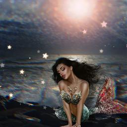 freetoedit sirens photomanipulation beach mermaid