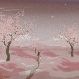 freetoedit aesthetic pink fantasy desert girl trees alone moon sky prose