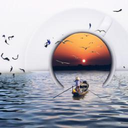 sunset remix madewithpicsart water boat tea freetoedit ircacupoftea acupoftea