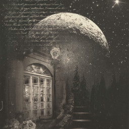 freetoedit aesthetic vintage old house stairs moon night stars forest letter poetic