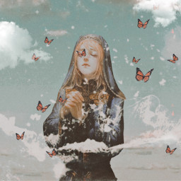 freetoedit art woman aesthetic prayer clouds butterfly papereffect