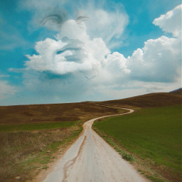 faceintheclouds bluesky road freetoedit