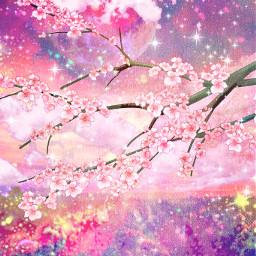 freetoedit glitter sparkle galaxy sky stars moon fields nature cherryblossoms flowers vintage art japanese cute kawaii wallpaper overlay background
