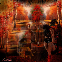 @asweetsmile1 portrait fall autumn background blendedimages blend creative creativeart witch freetoedit