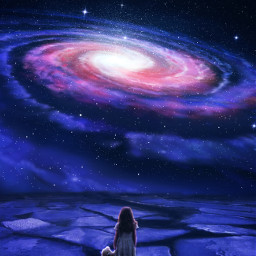 galaxy space stars littlegirl teddybear spaceedit blackhole fantasy swirl freetoedit