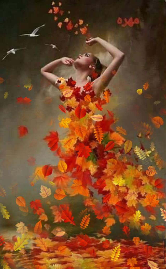 #girl #leavesdress #dress #autumn #fall #leaves
