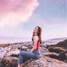 girl stars sky background sparkle freetoedit
