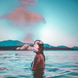 madewithpicsart picsart girl ocean sunset summer crete greece clouds cloud sky digitalart tones travel interesting art people sea nature beautiful beauty stunningsky beach europe waves freetoedit