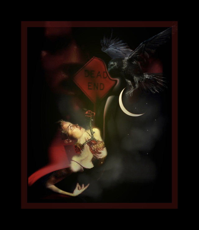 With dark news brings darkness... dead endings. #babelart #art #darkart #picsart  #surreal #emotions #reality #expressionism  #woman #raven #night #luna #deadendings #overlay #frame #heypicsart #makeawesome #myedit #freetoedit