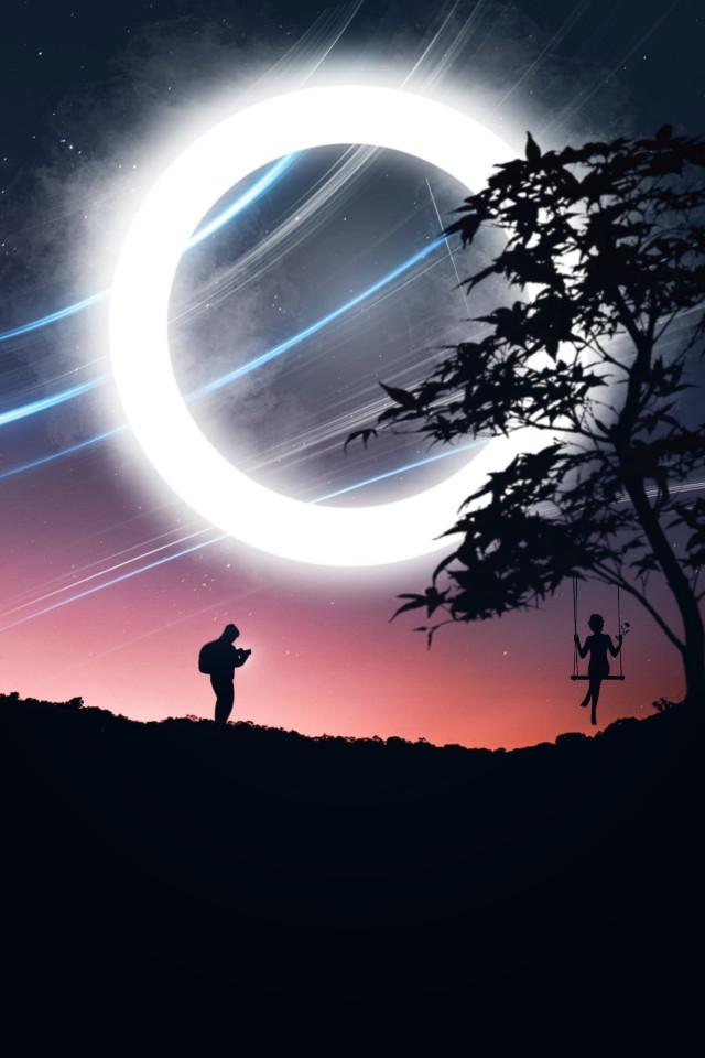 Moments 😊 #freetoedit #myedit #madewithpicsart #silhouette #galaxy #surreal  #neon #neoncircle  #araceli#glowing  #landscape #sunset #neonlights #swing