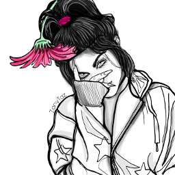 billyeilish mydrawing outline outlineart pink flower onecolorsplash sketch people colorme be_creative heypicsart illustration trendygirl girl drawtool madewithpicsart freetoedit