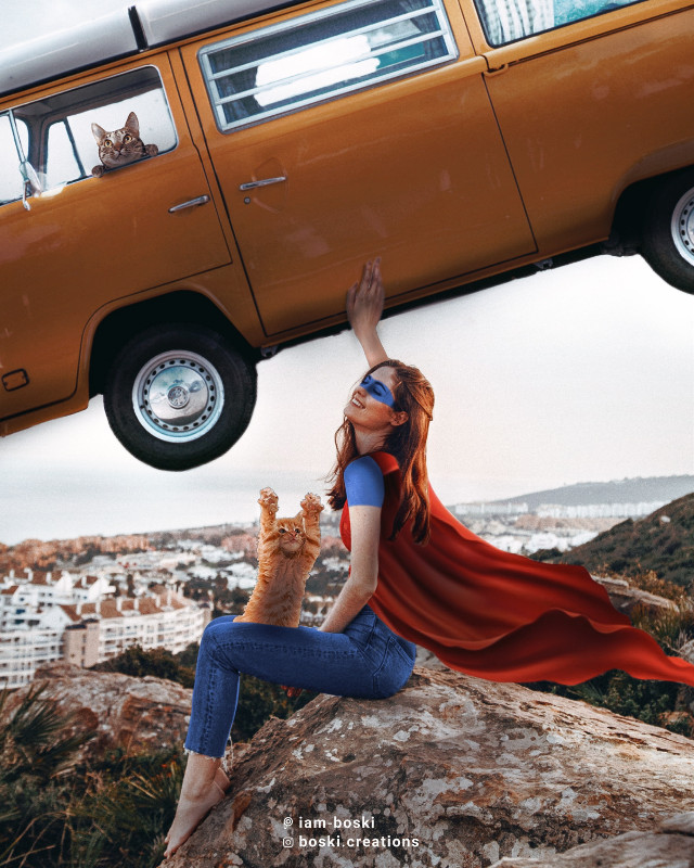 Saving the world, but with a smile.  . . . Van: Unsplash .  #picsart #papicks #makeawesome #superman #sulerhero #girl #cat #van #falling #scenery #freetoedit #editedbyme #editedwithpicsart