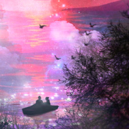 pastel clouds headintheclouds balloons pink pinkaesthetic aethetic pastelaesthetic boat rowboat river riverboat water lake ocean moon sunset picsart heypicsart freetoedit