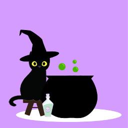 halloween halloweenwallpaper halloweenwallpapers wallpaper wallpapers purple cat blackcat witch witchhat purplewallpaper purplewallpapers cauldron 31daychallenge freetoedit