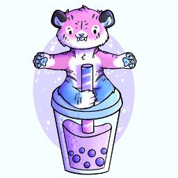 furry furries furryfandom digitalart tiger cute chibi bubble tea bubbletea boba