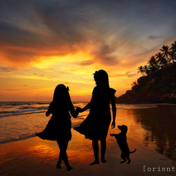 sunset silhouette beach girls dog happy orient_arts madewithpicsart heypicsart makeawesome picsart freetoedit