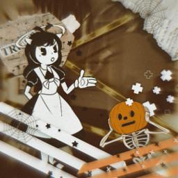 freetoedit batim bandy ink bendyandtheinkmachine bendy alis orenge helloween🎃 хелоуин оранжевый батим бенди алиса helloween