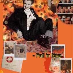 fall fallinlove spooky pumpkin marilynmonroe autumn leaves orange vintage poloroid polaroid srcautumnleaves autumnleaves freetoedit