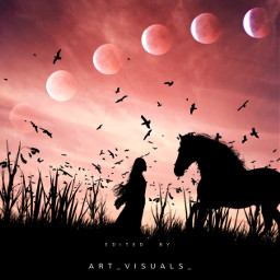 freetoedit silhouette woman girl moon galaxy nature horse field surreal fantasy aesthetic tumblr grunge vintage myedit myart photography photooftheday photographer picsartedit picsart art artistic madewithpicsart