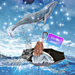 whale sea boat ohmy stars wide whales planets blowhole speech ircundertheumbrella undertheumbrella freetoedit