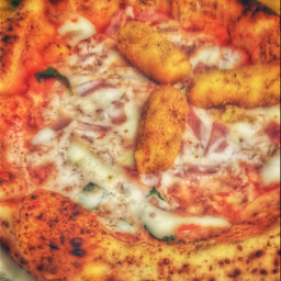 freetoedit madewithpicsart remixit pizza italy food pizzeria restaurant madeinitaly pizzanapoletana mozzarella sauce ham potatoes italianfood delicious basilico crocchette