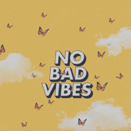 good vibes only goodvibesonly yellow vintage butterflys clouds replay