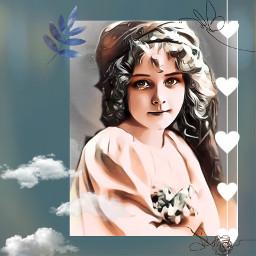 vintagegirl bluesky hearts myedit picsartedit freetoedit