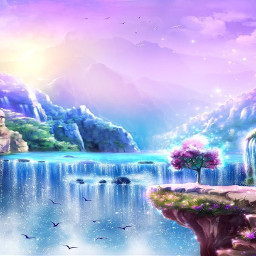 waterfall sparkly birds silhouette sun glisten shine clouds sky mountains cliffs tree pink purple blue fly nature yelloe rocks freetoedit