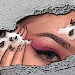 eyes challengepicsart challengeedit paperchallenge rcrippedpaperaesthetic rippedpaperaesthetic freetoedit