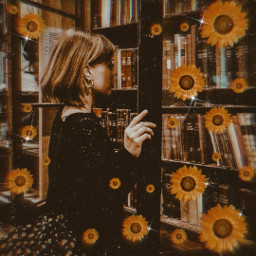 bronze brown autumn fall books spooky sunflowers vintage retro chic tumblrgirl replayit tryit madewithpicsart heypicsart inspiration creative flowers darkbrown october 2020 simple aesthetic style sparks freetoedit