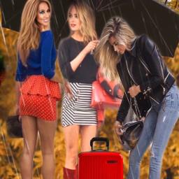girls umbrella raining autumn smile ircundertheumbrella freetoedit