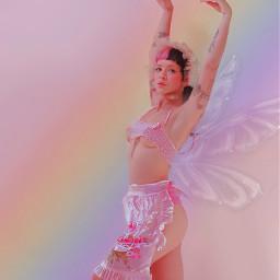 freetoedit littlebodybigheart melaniemartinez angel fairy edit aesthetic y2k rainbow pink melanie martinez wings angelic girl indie indiekid kidcore cute people artistic myedit