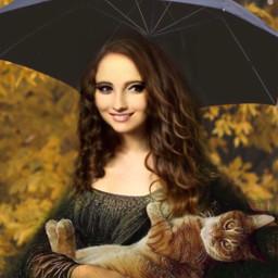 woman gioconda umbrella cat leaves ircundertheumbrella
