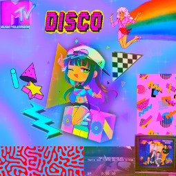 80s 80svibes gatchalife mtv colorful art pride raunbow music disco creative lgbtq party ecgachaclubhalloweenparty gachaclubhalloweenparty freetoedit