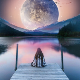 freetoedit myedit madewithpicsart girl mountain fantasy makeawesome moonlight moon araceliss sky sunsetsky landscape sunset