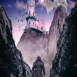 freetoedit fantasy man castle dragon mountains beautyofnature beautyallaround madewithpicsart myimagination myedit