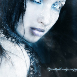 photography fx aesthetic glow woman dark cold winter effects beautiful nature frozen frost frostbite freezing blue ice myedit donotremix donotsteal girl makeup gothic model december