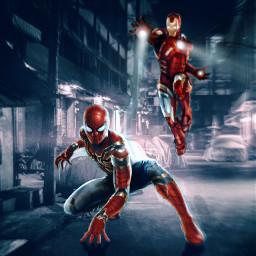 spiderman ironman marvel fanart heroes superheroes night city unsplash alienized wallpaper uhd editedwithpicsart freetoedit