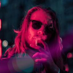neon night lens city man lights