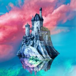freetoedit castle sky clouds pink landscapes