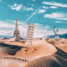 picsart myedit myremix surreal freetoedit sky photomanipulation photoart fxeffects background desert eiffeltower statueofliberty piza