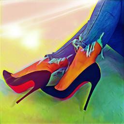 shoes highheels heels redbottoms pumps jeans rippedjeans photoart fashion fashionart legs feet magiceffects loveandkisses freetoedit