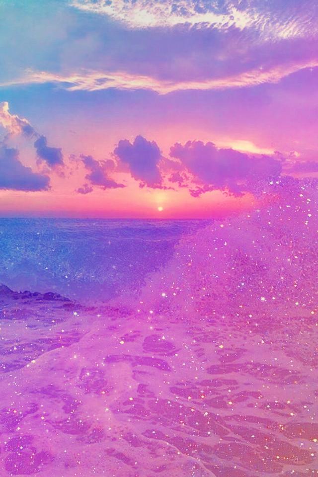 #freetoedit @mpink88 #glitter #sparkle #galaxy #sky #stars #shimmer #ocean #pink #blue #purple #sunset #beach #water #sea #nature #landscape #pastel #background #overlay #wallpaper