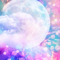freetoedit glitter sparkle galaxy sky moon clouds bokeh colorful universe lights glow neon pastel art background overlay wallpaper